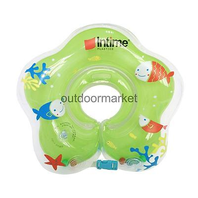 Safe Swimming Neck Float Green Inflatable Ring for 1-24 Months Baby Infant