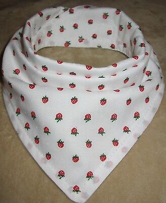 Bandanna Dribble Bib made with Small Strawberry material