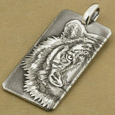 999 Sterling Silver Dog Tag Engraved Tiger King Mens Punk Pendant 9X027SD