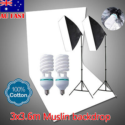 1350W Photo Studio Softbox Lighting Soft Box Light Stand & White Muslin Backdrop