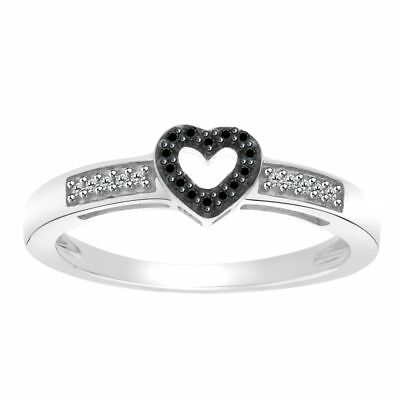 0.07 Cttw Natural Diamond Heart Shape Ring 14K Gold Over Sterling Silver 925