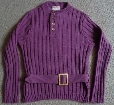 Dee Minor Fab 1970's original RETRO VINTAGE rib knit JUMPER with belt 7-8y