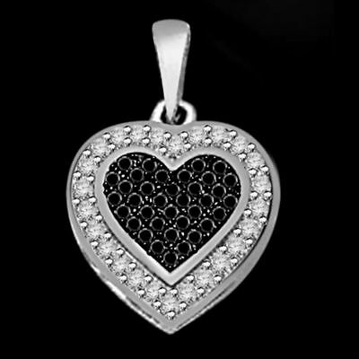 1/4 Ctw White & Black Natural Diamond Accent Heart Pendant 925 Sterling Silver