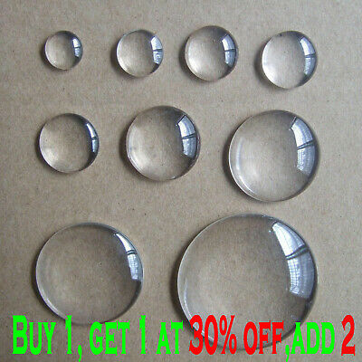 8-58mm Clear Crystal Round Cabochon Flat Back Glass Dome Tile Jewellery Making