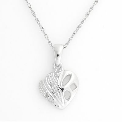 Round Natural Diamond Heart Pendant Necklace 14k Gold Over 925 Sterling Silver