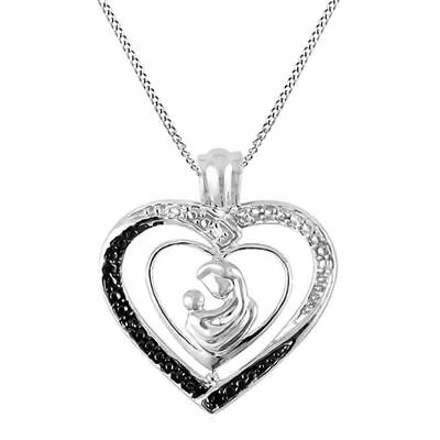 Black & White Real Diamond Accent Mom & Child Heart Pendant 925 Sterling Silver