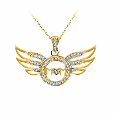 1/7Ctw Round Natural Diamond Mom Wing Pendant 14k Gold Over 925 Sterling Silver