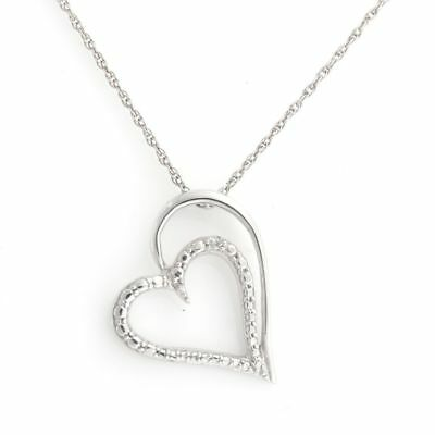 White Round Natural Diamond Mom Heart Pendant 14k Gold Over 925 Sterling Silver