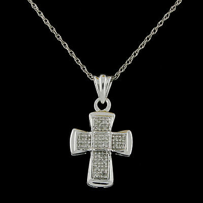"Natural Diamond Cross Pendant W/18"" Chain 14k White Gold Over Sterling Silver"