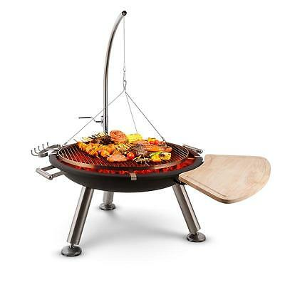 Home Garden Free Swinging Bbq Grill & Fire Pit Bowl Basket Wood Charcoal Party