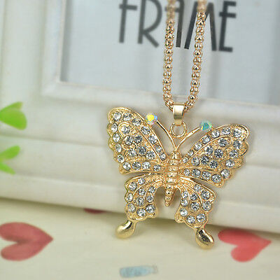 Butterfly Sweater Bead Necklace Women Rhinestone Crystal Pendant Christmas Gift