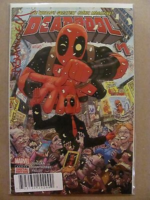 Deadpool #1 Marvel 2015 Dynamic Forces Signed Fabian Nicieza with COA 9.6 NM+