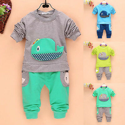 Toddler Baby Boy Girl 2pcs Clothes Long Sleeve T-shirt Tops+Pants Unisex Outfits