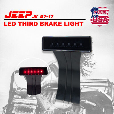 3rd LED Replacement Brake Tail Light for Jeep Wrangler JK  07-17 with Smoke Lens