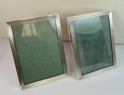 "Superb Pair of Engine Turned Pattern Sterling Silver Photoframes 3"" x 4"""