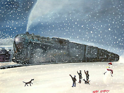 """SIGNED OIL ON STRETCHED CAVASS PAINTING OF A STEAM LOCO IN THE SNOW 20"""" x 16"""""""