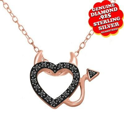 Round Natural Diamond Devil Heart Pendant 14k Rose Gold Over 925 Sterling Silver