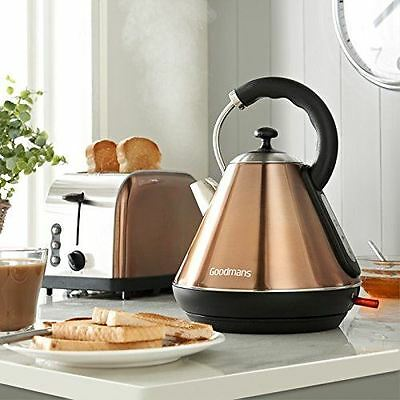 Goodmans 3000w 1.8L Kettle and 2 Slice Toaster Breakfast Set - Copper