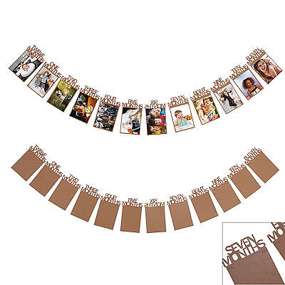 1st Birthday Recording 1-12 Month Photo Banner Garlands Monthly Bunting Décor