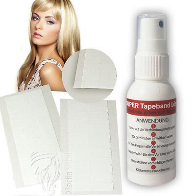Tape Extensions Super Tapeband Löser Entferner 50ml + Cuttings Tapes 4cm x 0,8cm