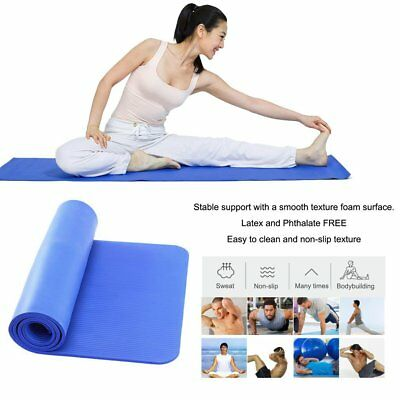20X 10mm Non-slip Yoga Mats Gym Pilates Fitness Physio Exercise Camping Carrier