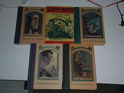 5 X A Series Of Unfortunate Events. By Lemony Snicket.  Hardcover 1-5