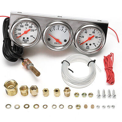 Universal 2.27'' Water Temp VOLTAGE Volt Oil Pressure Gauge Complete SET W/ Pane