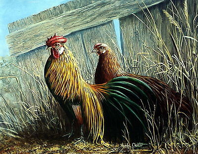 Old Vintage Art Print Kitchen Decor GOLD PHOENIX Cock Rooster Farm Hen Chicken