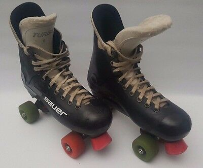 Bauer Turbo 33 Roller Skates Quads Size 8 Vintage 80's (See Condition)