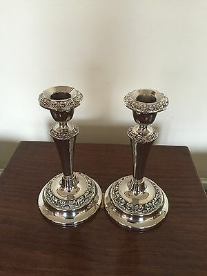 """Pair Of Silver Plated On Copper Candlesticks On A Circular Base .7.25"""" Tall #4"""