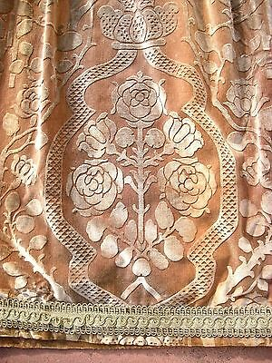 Vtg Antique Edwardian Elegant Caramel Ornate Cut Velvet Drape Portiere