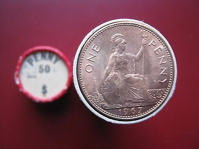 UK British 1967 Pre-decimal 50x Large Penny UNC coins in red tube