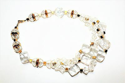 Vintage Napier Clear & Gold Chunky Beads Necklace (c1960s)