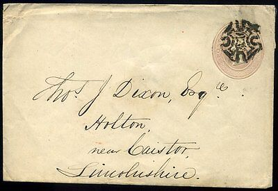 1843 Postal Stationery 1d Pink Envelope Wakefield to Holton le Moor