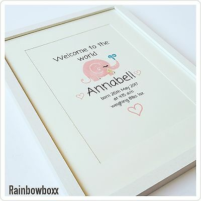 ☆☆ A4 personalised print. Baby girl. New baby. Pink elephant. 200gsm card ♡♡
