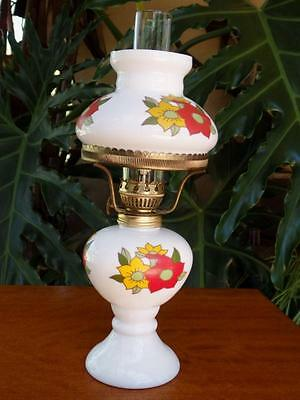 RETRO 60 70s VINTAGE Chic MILK GLASS Oil Kero LAMP Light Chimney Shade Wick 25cm