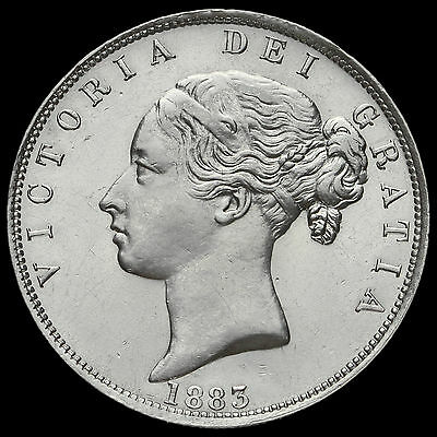 1883 Queen Victoria Young Head Silver Half Crown