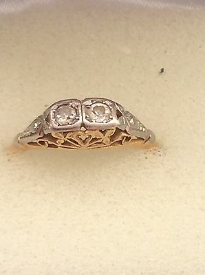 18ct vintage yellow and white gold diamond ring