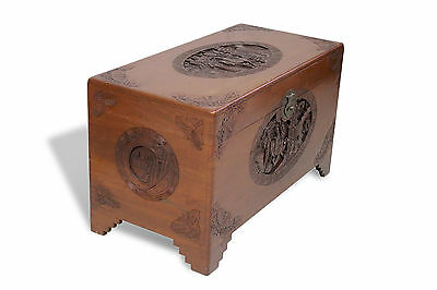 Antique Vintage Chinese Camphor Chest Trunk Box Large Carving