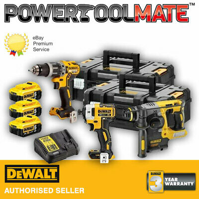 Dewalt DCK368P3T 18V XR Impact Driver, Combi & SDS Drill Kit with 3 x 5.0Ah