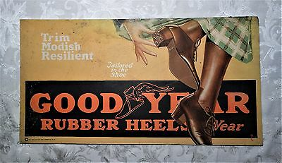 Rare Vintage 1921 Goodyear Wingfoot Heels Trolley Car Advertising Sign