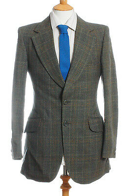 Vintage 1970's Burton Green Check Wool 36 Xs
