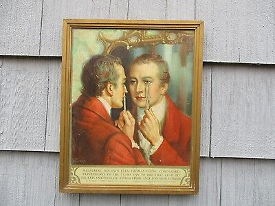 Vintage Circa 1930's Framed BAUSCH & LOMB Optical Advertising Print Sign