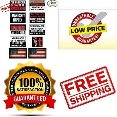 Funny Hard Hat & Helmet Stickers: 10 Decal Value Pack with Two American...