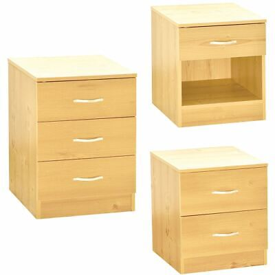 Riano Bedside Chest 1 2 3 Drawer Pine Wood Bedroom Storage Furniture Unit