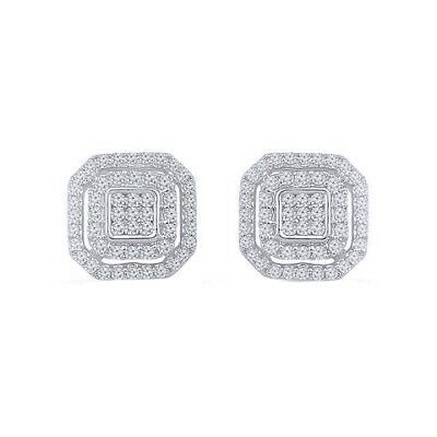 0.5 Ct Round Cut 14K White Gold Over Deco Square Diamond Cluster Stud Earring