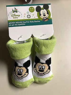 Disney Mickey Mouse Baby Booties 0-12 Months Green