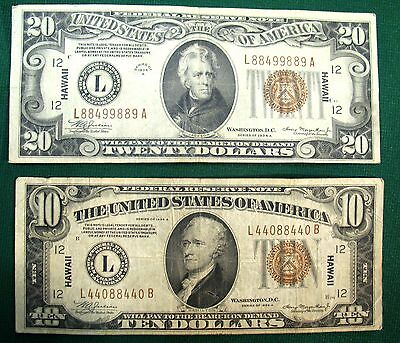 A $10 and $20 denomination set of Hawaii issued banknotes from WWII. Av. Circ. 2