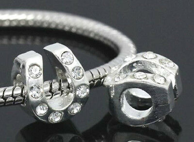 Silver Clear Crystal Horseshoe Charm Bead For Bracelet Or Necklace
