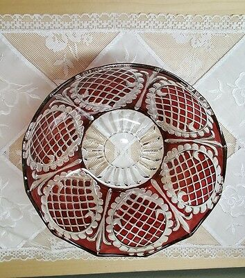 """Vintage Cranberry Cut to Clear 8"""" Crystal Round  Bowl"""